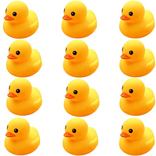 UMBWORLD Preschool Bath Toys Rubber Floating Squeaky Baby Wash Shower Toy for Toddlers Kids Party Decoration 12 Pcs (Yellow Duck)
