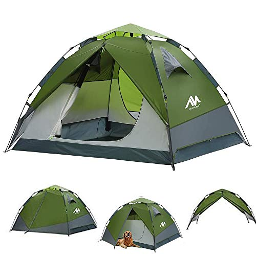 Pop Up Tents for Camping 3-4 Person Automatic Setup - AYAMAYA [2 in 1 Design] Double Layer Waterproof Instant Popup Tent - [2 Doors] Quick Easy Set Up Family Camping Tent Survival Emergency Shelter