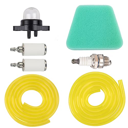 Hipa Primer Bulb Pump with Air Filter Fuel Filter Fuel Line Hose Tube Spark Plug for Poulan Craftman Chainsaw