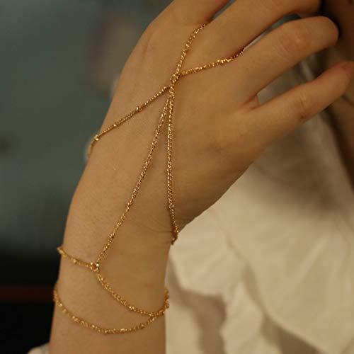 TseenYi Pulsera de oro con anillo de dedo para mujer y niña (dorado)