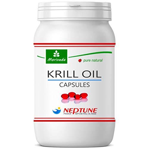 Capsules d'huile de krill 90 ou 270, 100% pur NEPTUNE premium krilloil - Oméga 3,6,9 astaxanthine, phospholipides, choline, vitamine E - Qualité de la marque de MoriVeda (1x90)