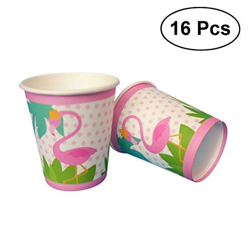 BESTOYARD 16 Stücke Flamingo Pappbecher Party Einweg Papierbecher für Hawaii Sommer Party Supplies
