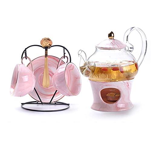 Marbling Porcelain Tea Set Nordic Ceramic Tea Cup with Candler Strainer Floral Tea Set Cafe Mug Teaware Coffee Cup
