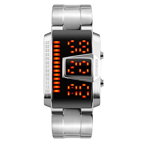 Binary LED Digital Waterproof Watch Mens Classic Creative Fashion SilverPlated Wrist Watches