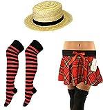 MA ONLINE - Falda de tartán para mujer, calcetines de paja, sombrero, para colegio, juegos de fiesta extra grande