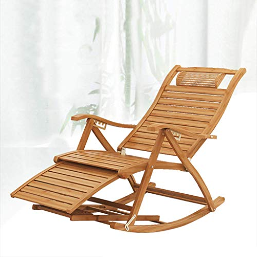 LLSS Rocking Chair Outdoor Garden Patio Furniture, Porch Armchair with 5-position Adjustable Backrest, Wooden Rocker Balcony Deck Garden Seat