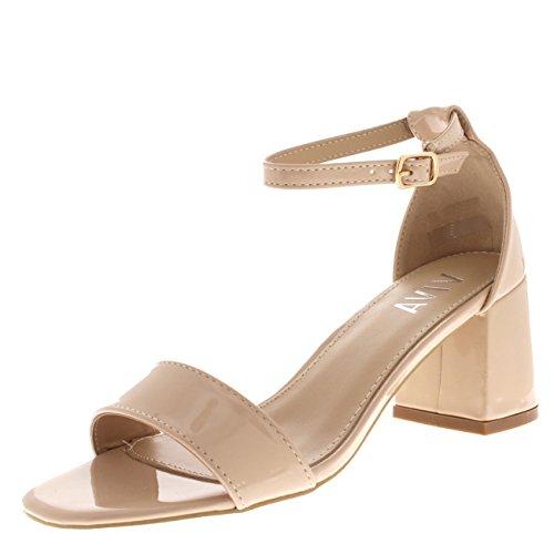 Viva – Damen-Sandalen mit Peep Toes, Blockabsatz und Knöchelverschluss, - Hautfarben - Nude Patent - Größe: 37.5