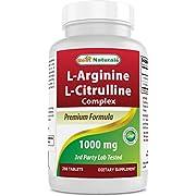 Best Naturals L-Arginine L-Citrulline Complex 1000 mg 250 Tablets