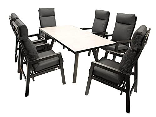 DEGAMO Gartengarnitur MANCIANO 7-teilig, 6X Hochlehner Sessel mit Verstellbarer Rückenlehne und 1x Gartentisch 90x180cm mit Glasplatte in Keramikoptik, grau