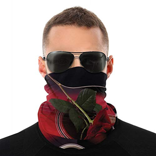 MSGDF Variedad Bufanda de cabeza Windbreak Face Cover 3D,Español Músico Portugal Guitarra Con Romance Tema Amor San Valentín Rose,Calentador de cuello de bandanas a prueba de viento