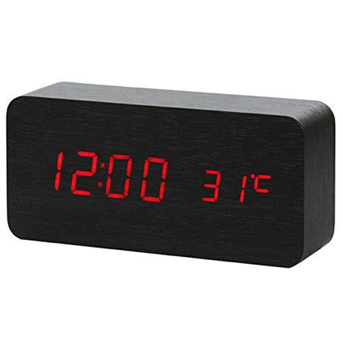 LKU Wekker Multi kleuren geluidsregeling houten houten vierkant LED wekker desktop desktop digitale thermometer houten