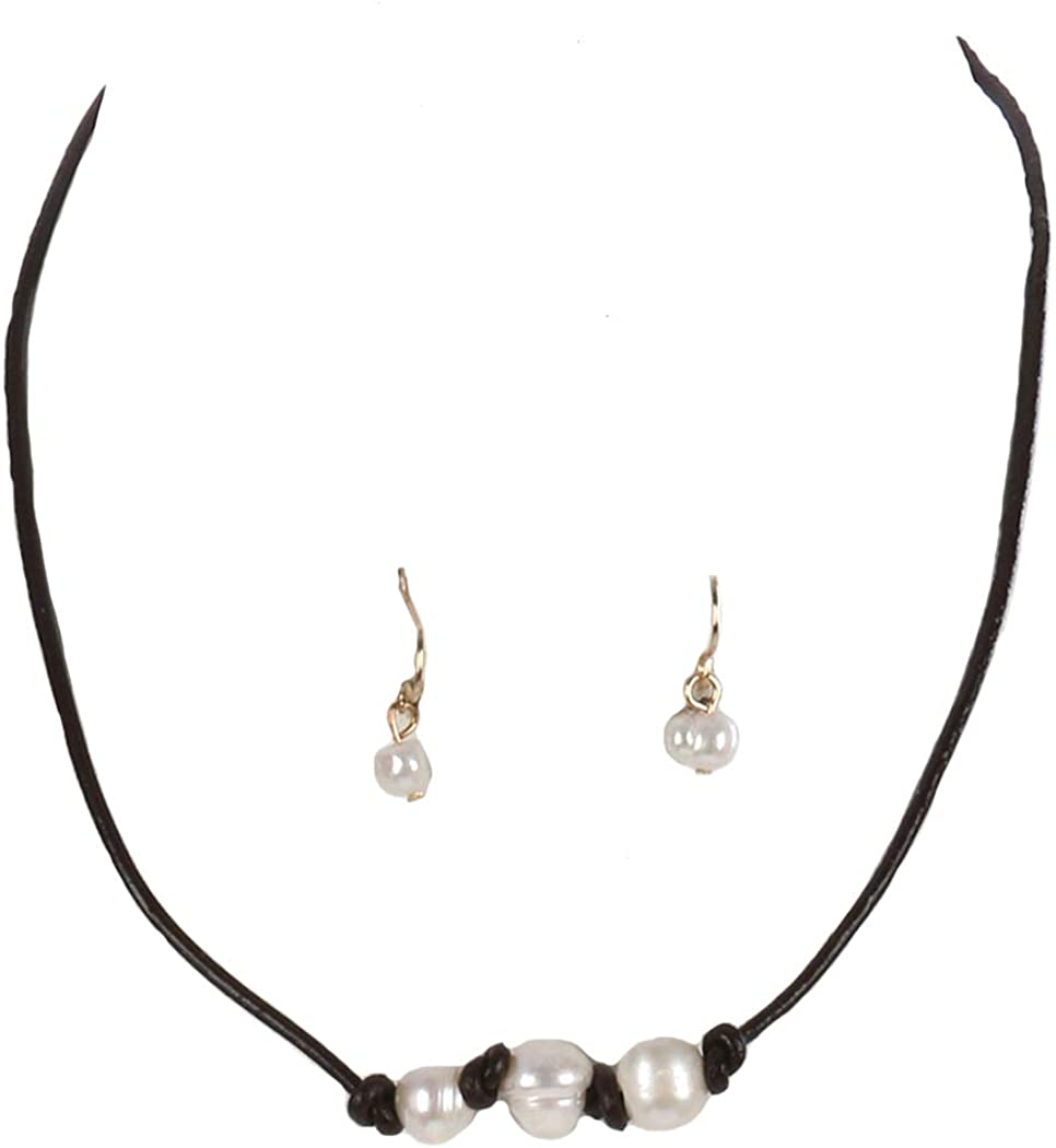 Fashion Jewelry ~ Faux Pearls on Faux Rubber Cord Necklace and Earrings Set for Women Teens Girlfriends Birthday Gift