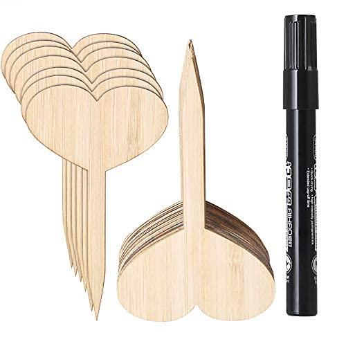 Rehomy 50 etiquetas de semillas de bambú para vegetales y jardín, para guardería, plantas y plantas con bolígrafo