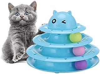 لعبة للهرة من ثلاث طبقات بقرص دوار مانع للانزلاق، العاب لحيوانك الاليف بثلاث كرات تعقب ملونة للهرة، من بيونتي