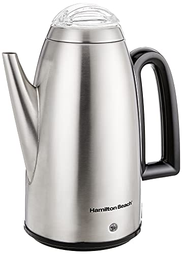 Hamilton Beach 12 Cup Electric Percolator Coffee Maker with Cool Touch Handle, Stainless Steel (40614R)