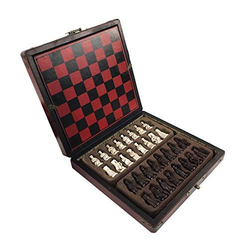 Dfghbn Schachset Antike Schach Set von Schach-hölzernen Couchtisch antike Miniaturschachbrettschach Geeignet für Reisen und Ausflüge (Farbe : Red, Size : One Size)