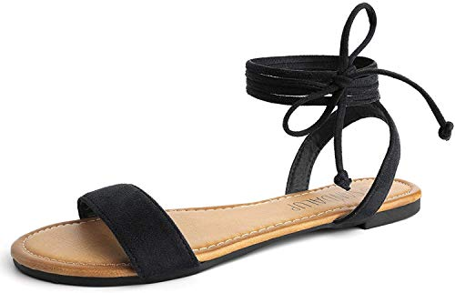 SANDALUP Tie Up Ankle Strap Flat Sandals for Women Black 09.5