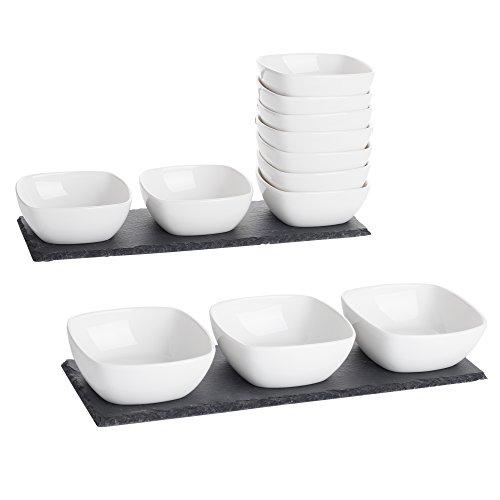 MALACASA, Serie Nature.Slate, 2X Schieferplatte Schiefer Platte mit 12 Porzellan Schälchen Dessert Snack Vorspeise 170ml Set