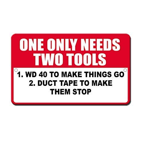 WallAdorn Only Needs Two Tools Wd40 Duck Tape Red White for Eisen Poster Malerei Blechschild Vintage Wall Decor für Cafe Bar Pub Home