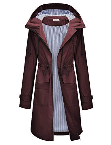 JASAMBAC Rain Jacket Women Long Loose Rain Coat Lightweight Waterproof Windbreaker S-XXL Wine Red