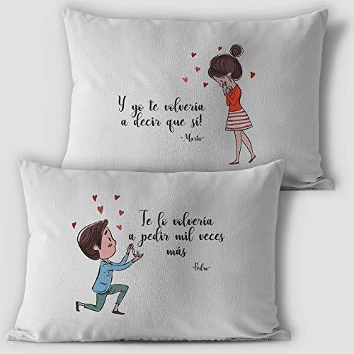 Cojines personalizados con el nombre, tamaño 50x30cm, regalo san valentin novios aniversario, regalos originales y únicos, ideal para decoración sofá o cama