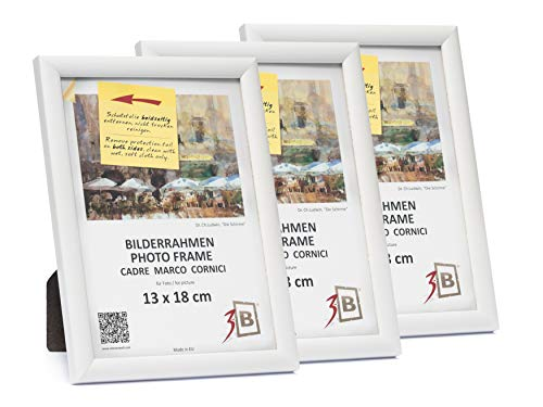 3B Conjunto de 3 Piezas ULM Marco – Blanco - 13x18 cm - Madera sólida Marcos, Marcos de Fotos