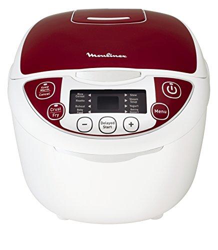 Moulinex MK705111 Multicuiseur Traditionnel 12 programmes automatiques riz, pates, mijotée, cuisson lente, vapeur, soupe, pâtisserie pain, raviolis, doré, confiture, yaourts Rouge 5 L