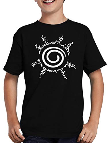 Camiseta infantil con el símbolo de Naruto Ninja Anime Hokage negro 152/164 cm