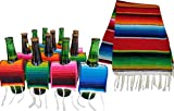BUNDLE INCLUDES 12 Handmade Beer Ponchos and 1 Matching Serape Table Runner, both Authentic Mexican BEER PONCHOS INCLUDE 3 Orange, 3 Blue and 3 Green and 3 Red Ponchos, each approximately 3.5''x 8'' THE MATCHING HANDMADE ZARAPE TABLE RUNNER is approx...