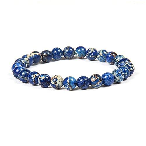 Good.Designs Chakra Perlenarmband aus 8 mm oder 10 mm Meeressediment Jaspis Natursteinen, Chakraarmband aus Jade für Damen und Herren (Blau 8mm)