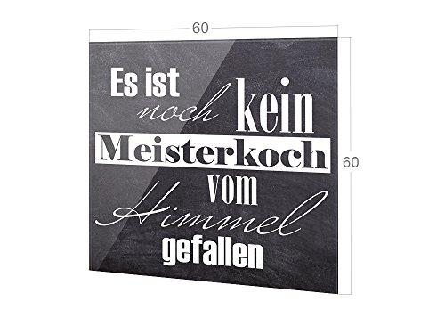 GRAZDesign Spritzschutz Küche Glas Schiefer-Optik, Wandpaneele Küche grau, Küchenrückwand Glas Spruch / 60x60cm