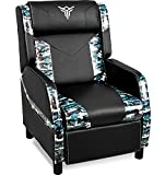 ELECWISH Massage Gaming Recliner Chair Single Ergonomic Lounge Sofa with Footrest Racing Style Modern PU Leather Reclining Home Theater Seat for Living & Gaming Room (Camouflage Blue)