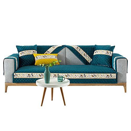 YUTJK Funda de Sofá/Funda de sofá Antideslizante/Funda de Sofá/Lavable/Antiácaros/Antiarrugas,Cojín de sofá de Felpa 3D Estilo Chino,para sofá de 1/2/3/4 plazas,Verde Oscuro
