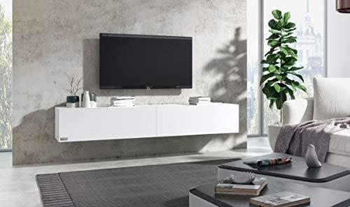 Wuun® TV Board hängend/8 Größen/5 Farben/200cm Matt-Weiß/Front: Weiß-Matt/Lowboard Hängeschrank Hängeboard Wohnwand/Hochglanz & Naturtöne/Somero