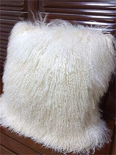 yingda1992 Mongolian Lamb Fur Throw Pillow Cover (16'' x 16'', White)   Real Fur Decorative Cushion Cover Pillow Case for Living Room Bedroom