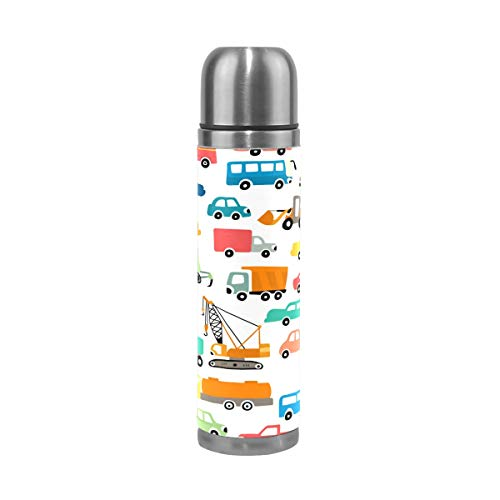 TIZORAX Dibujos animados Automóvil Coches Doble Pared Vacío Copa Aislada Botella de Agua de Acero Inoxidable Taza de Viaje Termo Taza de Café 17 Oz