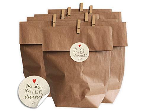 Eine der Guten Geschenktüten Set für Hochzeit Gastgeschenke oder Party Survival Kit, 24 Kraftpapier Tüten zum selbst Befüllen, inkl. Holz Miniklammern und Für den Kater danach! Aufkleber, Creme, matt