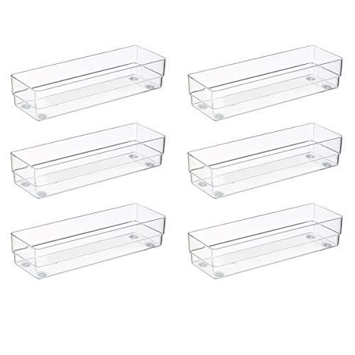 BYCY Clear Plastic Desk Drawer Organizers 3 X 9 6 Piece Set