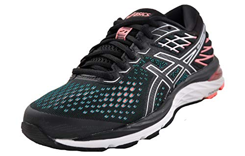 ASICS Gel Cumulus 21 Womens Running Shoes 6 US Black/Sun Coral