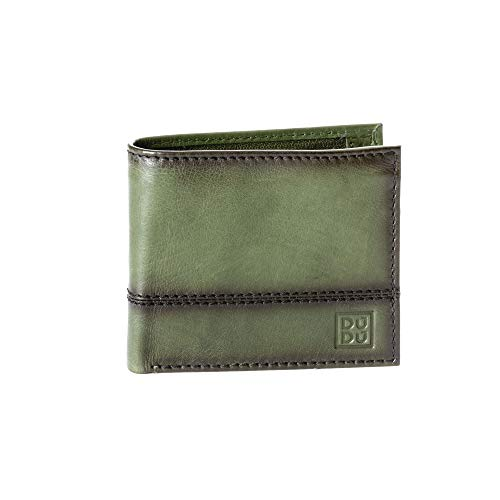 Portafoglio uomo piccolo in vera pelle con portamonete e tasca interna con zip DUDU Verde