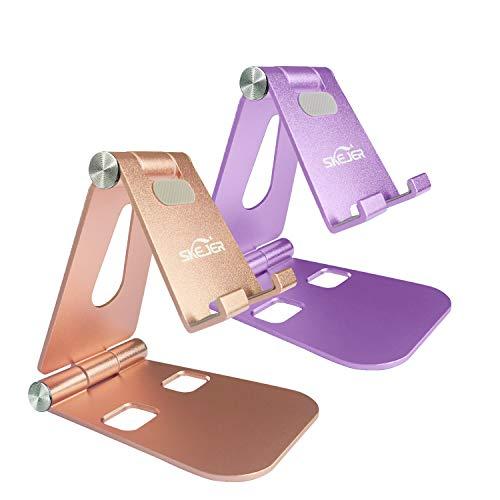 Fully Foldable Cell Phone Stand Holder for Desk SKEJER Adjustable iPhone Stand Aluminum Compatible with 4