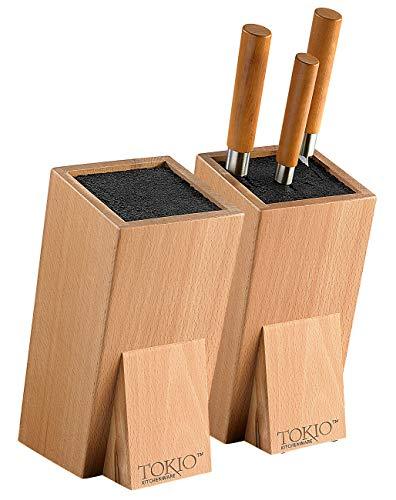 TokioKitchenWare Küchenmesser-Block: 2er-Set Universal-Messerblöcke aus Holz mit Borsteneinsatz (Messer-Block mit Bürsteneinsatz)