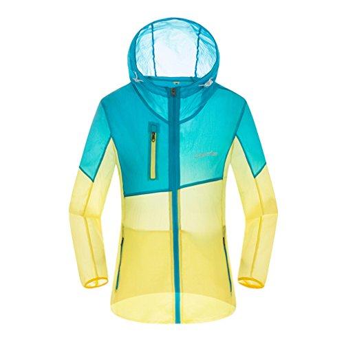 CIKRILAN Femme Ultra-Mince Léger Protection Solaire Anti-UV Veste été Hoodie Quick Dry Plage Outdoor Veste Manteau (XX-Large, Bleu)