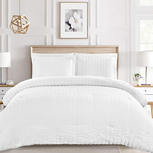 CozyLux Queen Bed in a Bag White Seersucker Comforter Sets with Comforter and Sheets 7 Pieces All Season Bedding Sets with Comforter, Pillow Sham, Flat Sheet, Fitted Sheet and Pillowcase