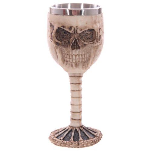 EliteKoopers 1 cáliz de calavera gótica decorativa y columna vertebral para decoración del hogar.