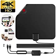 Sumpus TV Antenna Long Range of 80 Miles with Detachable Amplifier Signal Booster 13.1 Feet Coax Cable Digital Amplified 1080P HDTV Antenna Support 4K Free View Black
