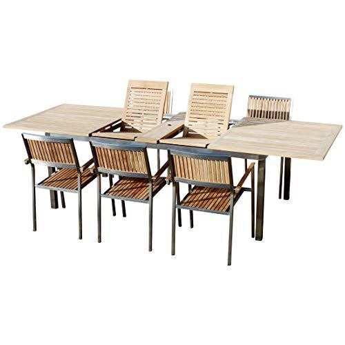 AS-S Gartengarnitur Edelstahl Teak Set: Ausziehtisch 200-280x100 cm und 6 Teak Sessel A-Grade Teak Holz Serie Kuba Gastroqualität