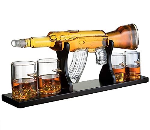 YXXJ AK-47 Whiskey Karaffe Einstellen, 1000ML Elegantes Gewehr Whiskey Karaffe Mit 4 Patronengläsern Und Pine Base, Bleifreies Hohes Weißes Glas, Für Alle Spirituosen Schnaps