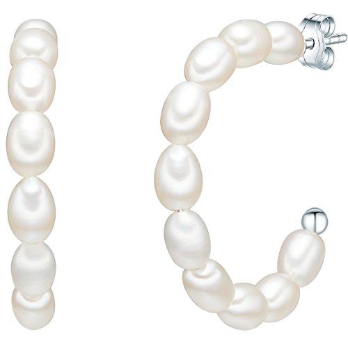 Valero Pearls Damen Ohrstecker aus 925/- Sterling Silber mit Zuchtperlen weiß
