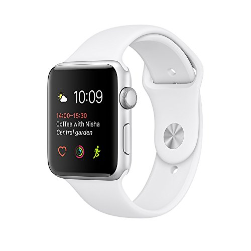 Apple Watch (1st Gen) 42mm Case with White Sport Band- Silver Aluminium